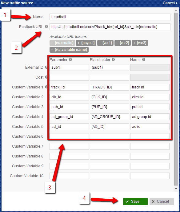 , How to add Leadbolt traffic source to Voluum?