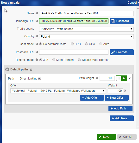 , Setting up a mobile offer on Voluum + HasOffers Platform (Yeahmobi)