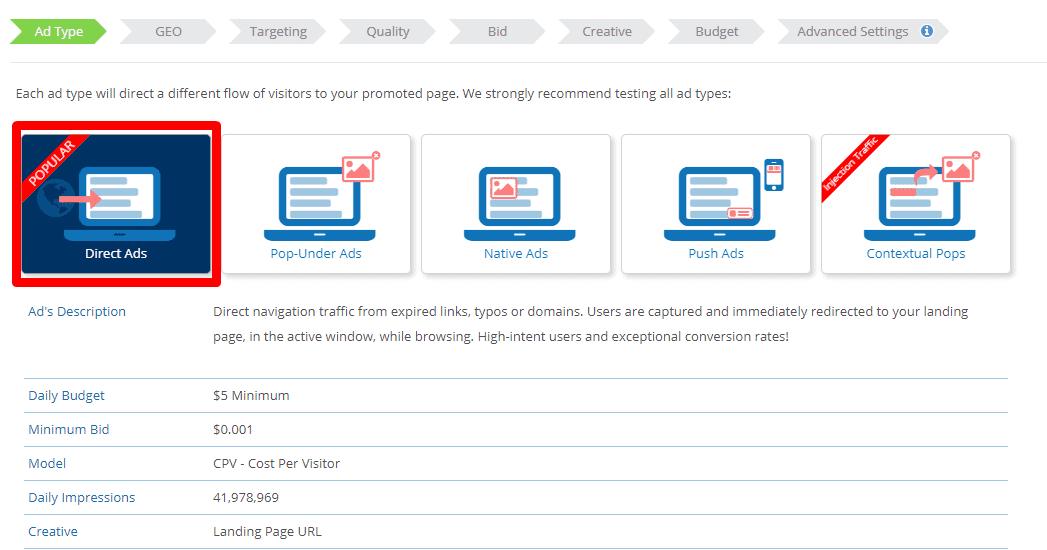 bidvertiser.com campaign creation